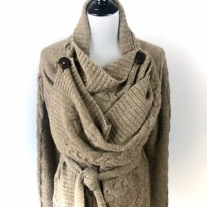 Anthropologie Cable Knit Wrap Cadigan Sweater Sz L